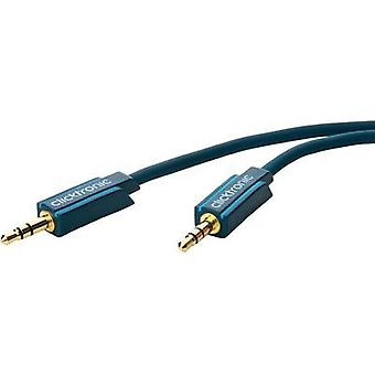 Jack Audio/phono Cable [1x Jack plug 3.5 mm - 1x Jack plug 3.5 mm] 5 m Blue gold plated connectors clicktronic