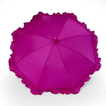 Umbrella for kids girls ruffle pink