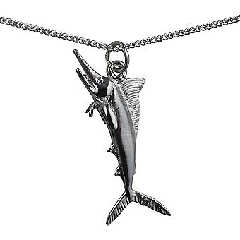 Silver 14x40mm solid Sword Fish Pendant with a curb Chain 18 inches