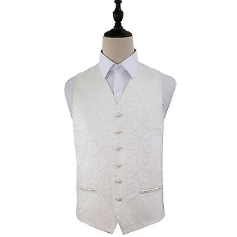 Ivory Scroll Patterned Wedding Waistcoat