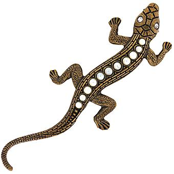 Cavendish French Edwardian Style Antique Gold & Austrian Crystal Lizard Brooch