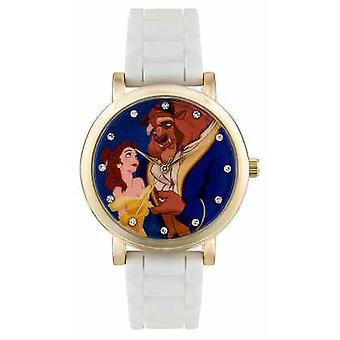 Disney Princess Childrens Disney Princess Beauty And The Beast White Strap PN1267 Watch