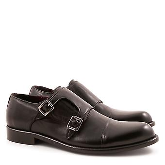 Handmade black leather double monk strap shoes