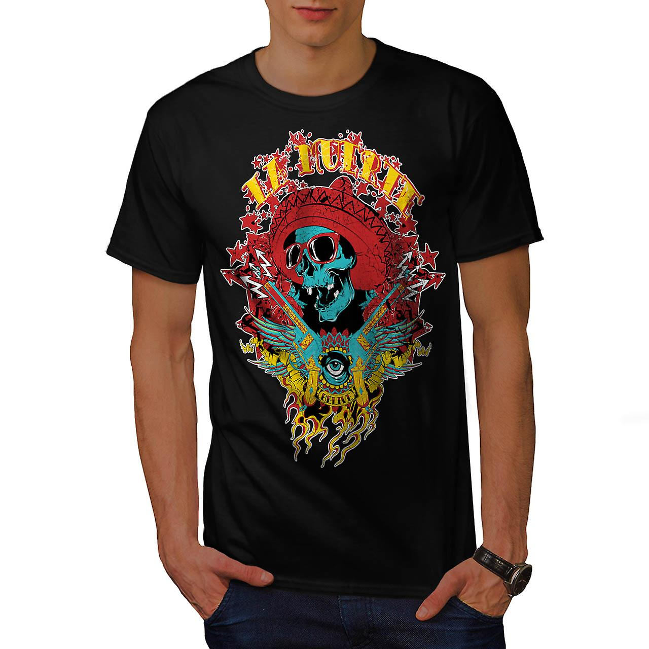 Mexico Skull Gun Life Shade Head Men Black T-shirt | Wellcoda