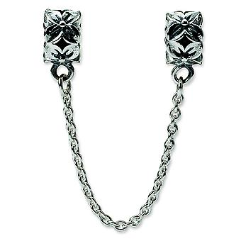 Sterling Silver Antique finish Reflections Security Chain Floral Bead Charm