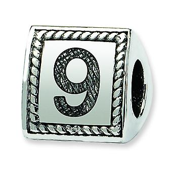 Sterling Silver Reflections Number 9 Triangle Block Bead Charm