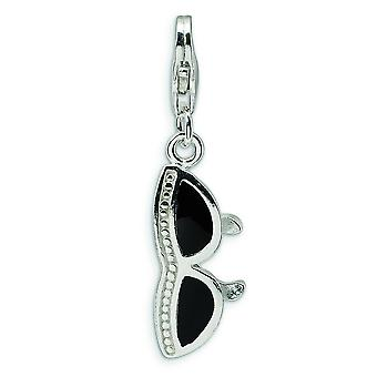 Sterling Silver 3-D Enameled Sunglass With Lobster Clasp Charm - Measures 31x8mm