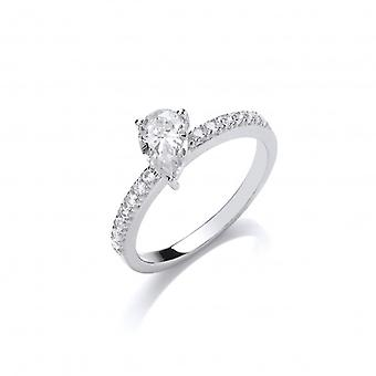 Cavendish French Silver and Teardrop CZ  Solitaire Stacking Ring