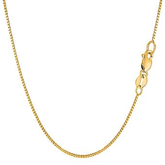 14k Yellow Gold Classic Mirror Box Chain Necklace, 0.8mm