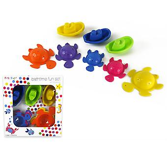 First Steps 8 Piece Bath time Fun Set with 5 Linking Turtles & 3 Linking Boats