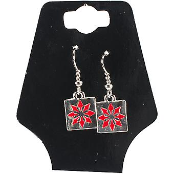 Charming Accents Wire Earrings-Red Block 22-610