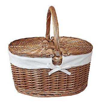Large Light Steamed Oval Lidded Wicker Basket