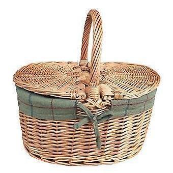 Light Steamed Oval Lidded Green Tweed Lined Picnic Basket