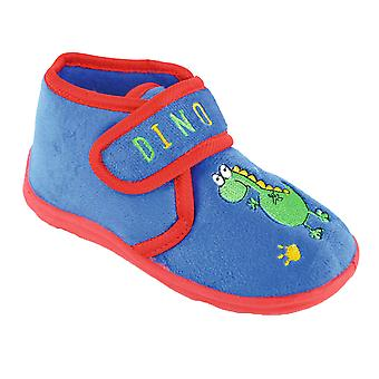 Kids Toddlers SlumberzzZ Animal Embroidered Touch Fasten Microsuede Slippers