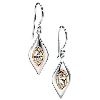 925 Silver Rose Gold Plated And Zirconium Earring