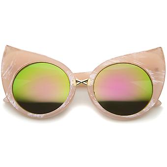 Womens Fashion Bold Marble Frame Mirrored Lens Round Cat Eye Sunglasses 51 mm