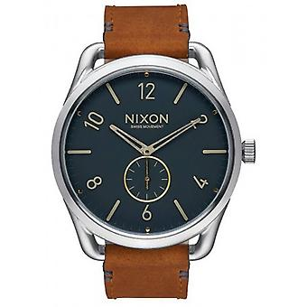Nixon The C45 Leather Watch - Navy/Saddle