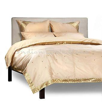 Gold - 5 Piece Handmade Sari Duvet Cover Set with Pillow Covers / Euro Sham