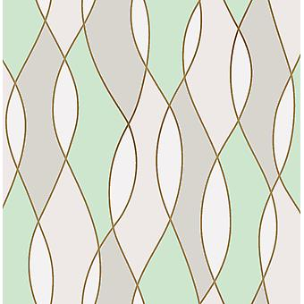 3D Effect Apex Wave Geometric Wallpaper Green White Shiny Rose Gold Fine Decor