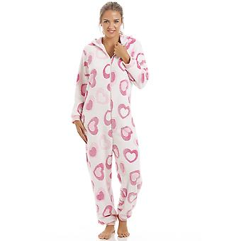 Camille Pink And White Heart Super Soft Fleece Hooded Onesie