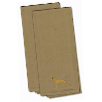 Pharaoh Hound Tan Embroidered Kitchen Towel Set of 2