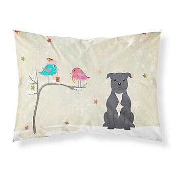 Christmas Presents between Friends Staffordshire Bull Terrier Blue Fabric Standa