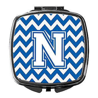 Carolines tesouros CJ1045-NSCM letra N Chevron azul e branco espelho compacto
