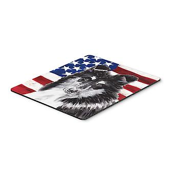 Black and White Collie with American Flag USA Mouse Pad, Hot Pad or Trivet