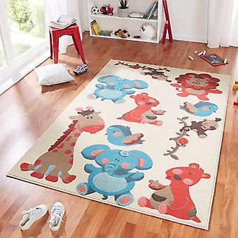 Design suede play mat for kids animals zoo blue red 140 x 200 cm