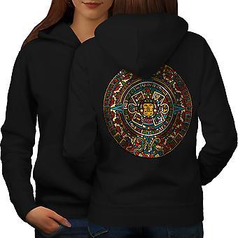 Aztec kobiet tradycyjne BlackHoodie tyłu | Wellcoda