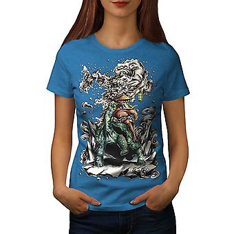 Chinese Dragon Art Women Royal BlueT-shirt | Wellcoda