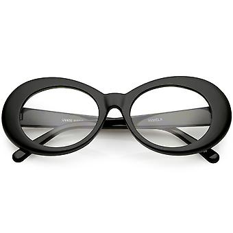 Große Schlagkraft Brille Dicke ovale Brillen klaren Linse 53mm