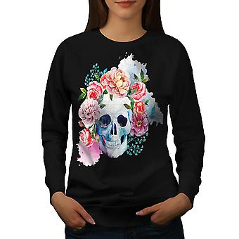 Fiore cranio donne BlackSweatshirt | Wellcoda