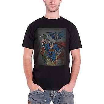 Superheroes T Shirt DC Originals Superman Batman Vintage Official Mens New Black