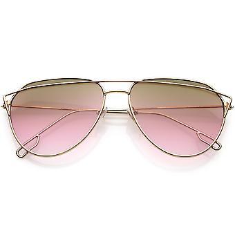 Modernen Pilotenbrille Metall Crossbar schlanke Arme Gradient Farbe flach Objektiv 58mm