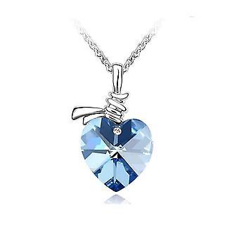 Womens Crystal kärlek hjärta hängsmycke halsband i mjuk blå
