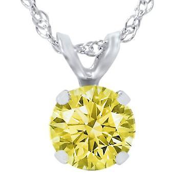 3/4ct Yellow Diamond Solitaire Pendant 14K White Gold