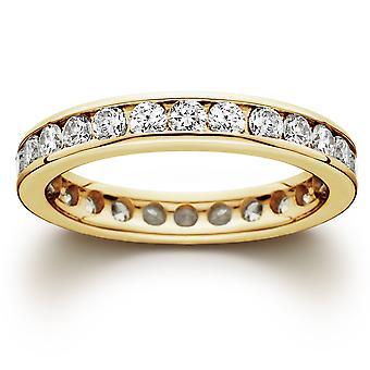 1 1 / 2ct canale impostato diamante Veretta girodito 14k oro giallo