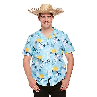 Adults Mens Blue Hawaiian Flower Tropical Shirt Fancy Dress Accessory One Size
