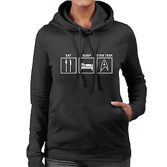 Eat Sleep Star Trek Graphic Women's Hooded Sweatshirt