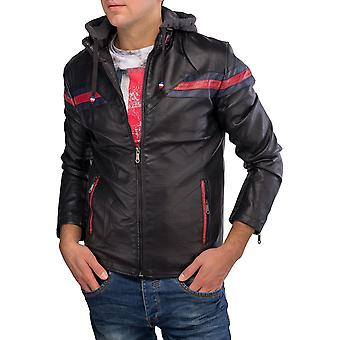Men's leather jacket with removable hood faux leather jacket leather Biker style