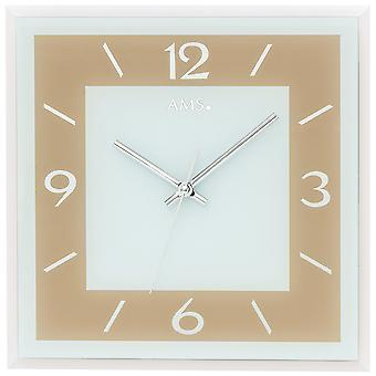 AMS 9574 wall clock quartz analog Brown light brown square with glass quietly without ticking