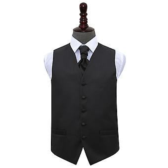 Black Greek Key Wedding Waistcoat & Cravat Set