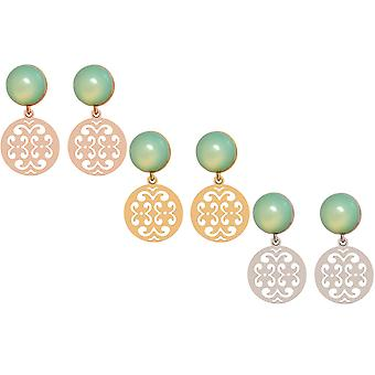 Gemstone gold GEMSHINE ladies earrings with Mandalas and sea-green chalcedony cabochons in silver, or rose gold. Made in Munich, Germany. Delivered in an elegant gift case.