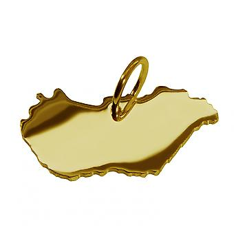 Trailer map of Hungary in massive 585 gold pendants