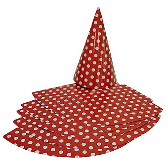 TRIXES 6PC Pack Red Party Hats with Elastic