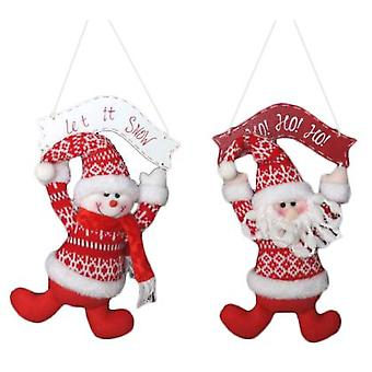 Item International Christmas decoration fabric wood hang 2 models