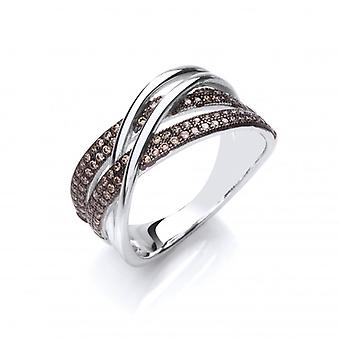 Cavendish French Silver and Coffee Cubic Zirconia Strand Ring