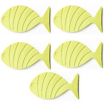 TRIXES 5PC förmigen gelben Fisch Badematten für Kinder Anti Rutsch Saugnäpfe