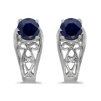 14k White Gold Round Sapphire And Diamond Earrings